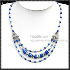 FASHION JEWELRY TIBET SILVER lapis lazuli  BEADS NECKLACE