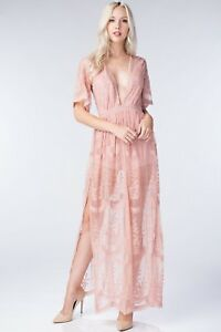 ebeb74058cce Honey Punch Blush Embroidered Lace Romper Maxi Dress. Style  ID5009C ...