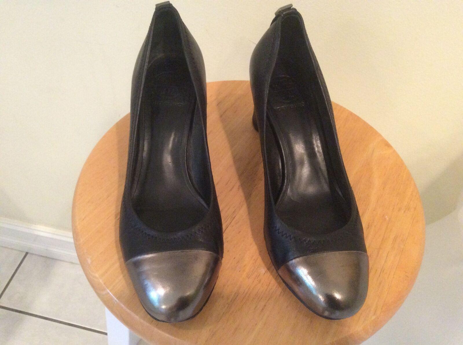 TORY BURCH Black Cap metallic Toe Block Heel Pumps Size 8 M