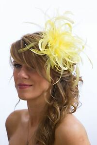 Image Is Loading Pale Yellow Fascinator Hat Any Satin Highlight Feather