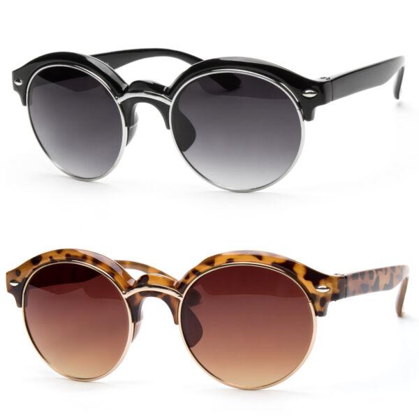 6e3e3c49c9 Women Retro Vintage Style Black Metal Half Frame Cat Eye Sunglasses Black  Shades