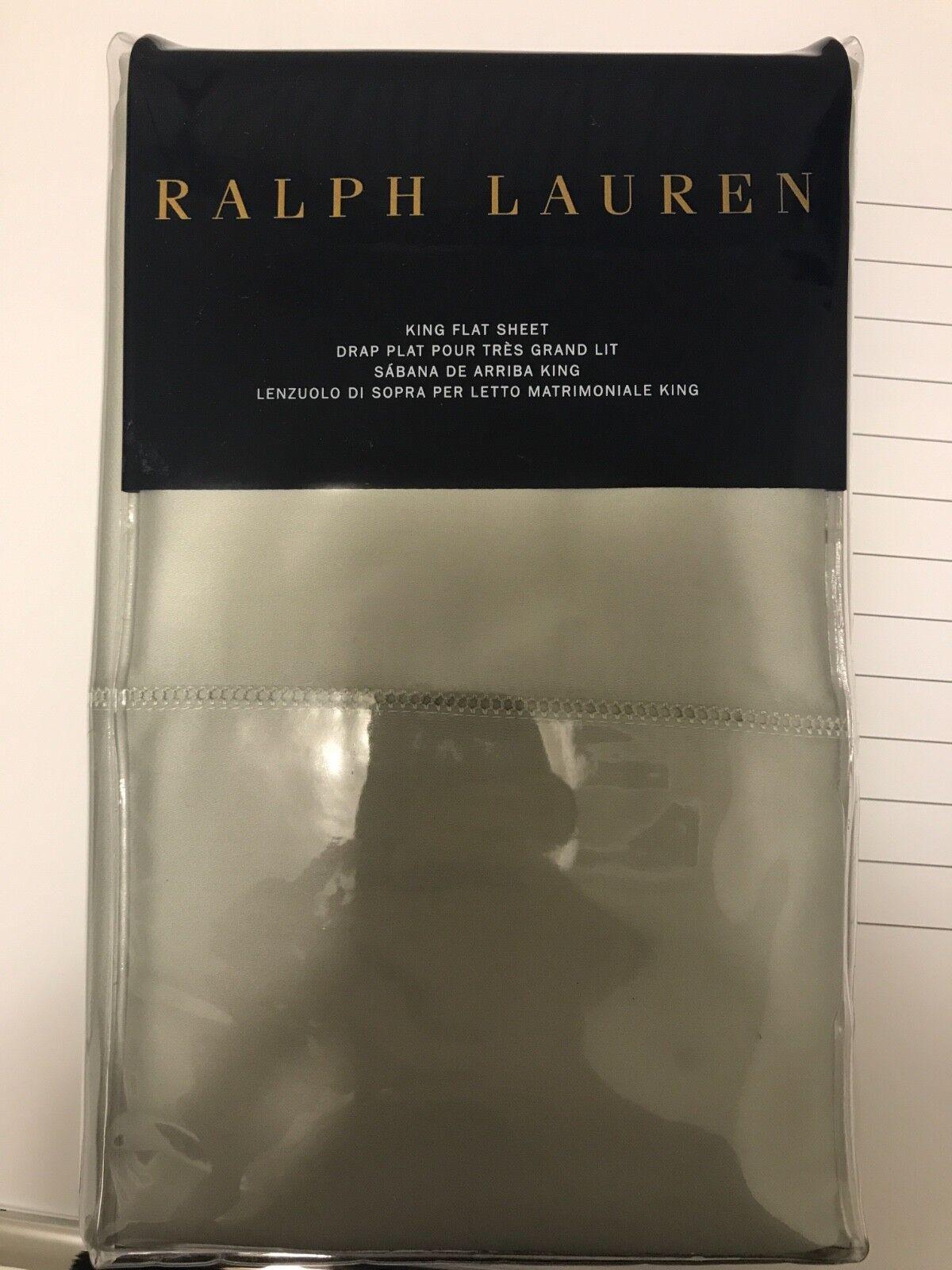 NEW King Flat Sheet - Ralph Lauren - Antique Jade - 100% Cotton