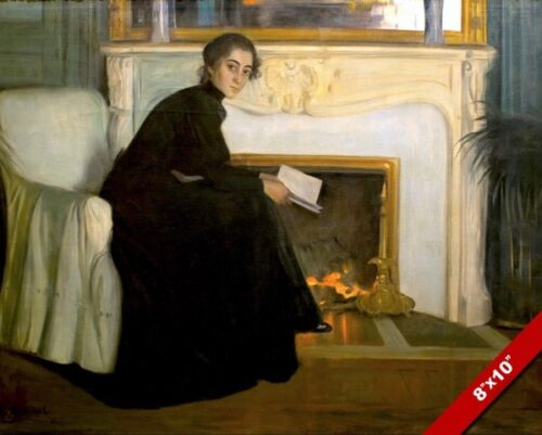YOUNG WOMAN READING A ROMANCE NOVEL BY FIREPLACE PAINTING ART REAL CANVAS PRINT