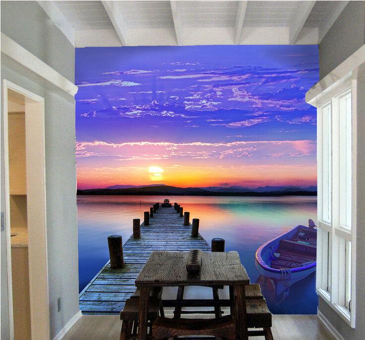 3D Sea Boat Sunset 71 Wall Paper Murals Wall Print Wall Wallpaper Mural AU Kyra