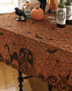 Heritage-Lace-Halloween-Rest-in-Peace-Orange-60-x-60-Tablecloth-Table-Topper