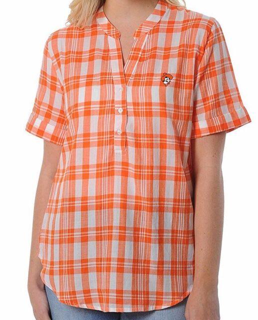NCAA Oklahoma State Cowboys Womens Pattern Lines Favorite Short sleeve T-Shirt Large,Orange
