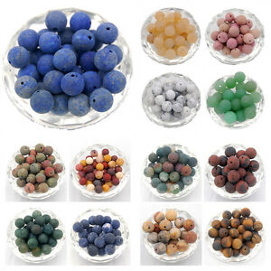 Natural-Matte-Frosted-Gemstone-Round-Loose-Charm-Beads-Wholesale-Jewelry-Making