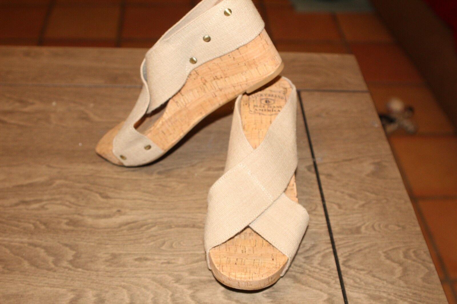 NEW LUCKY BRAND NWOB Women Sz 9  Platform Cork Wedge Sandals Beige Miller (i8)
