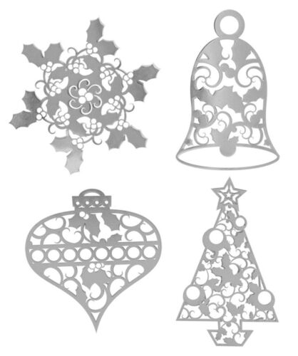 4 PCS tree snowflake bell Karen Foster THIN-ments CHRISTMAS TIME scrapbooking