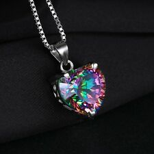 4ct Genuine Rainbow Fire Mystic Topaz Pendant Solid 925 Sterling Silver heart