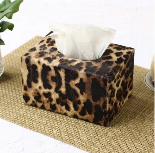 Idea Leopard Print PU Leather Tissue Box Cover Rectangle European Paper Holder