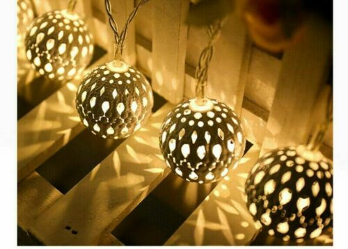Solar String Lights Outdoor Moroccan Style Metal Ball 30 LEDs Garden Fairy Lamp