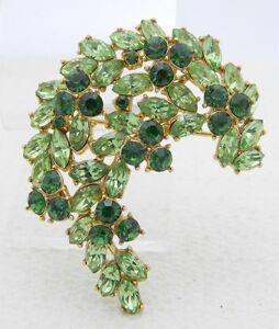 VTG-1961-CROWN-TRIFARI-Gold-Green-Rhinestone-Leaf-Flower-Pin-Brooch