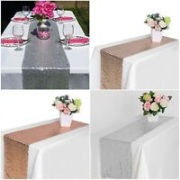Romantic 30*275CM Sequin Chair Bow Table Runner Wedding Party Banquet Decoration