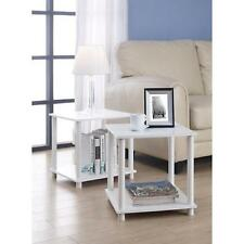 End Table Set of 2 Small Living Room Furniture Side Storage Shelf Wood White