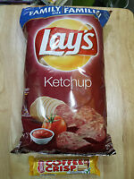 10 Bags Of Lay's Ketchup Potato Chips - Family Size Inc. 6 Coffee Crisp Bars