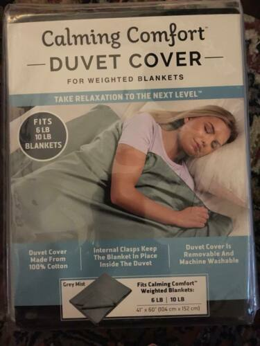 """Calming Comfort Duvet Cover For Weighted Blankets Grey Mist 41"""" x 60"""" 6-10 lbs"""