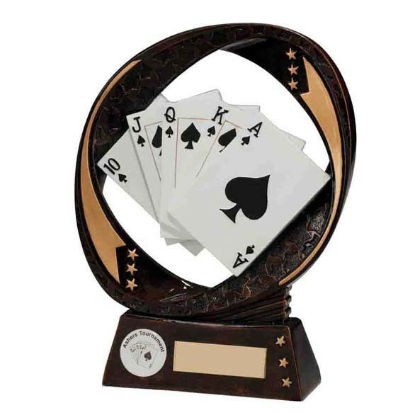 Typhoon Poker Award. Fanned cards Trophy-Free ENGRAVING. 2 Sizes Sizes Sizes bbf320
