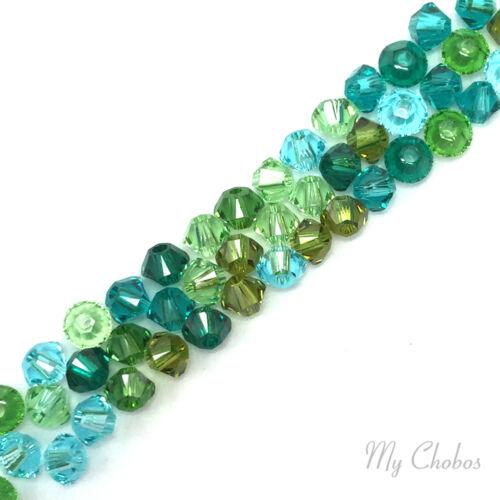 50 pcs Swarovski 5328 XILION Crystal Bicone Beads GREEN TEAL Color Mix Pick Size