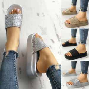 Details about Women Slip On Diamante Slippers Sliders Flat Sandals Ladies Mules Summer Shoes