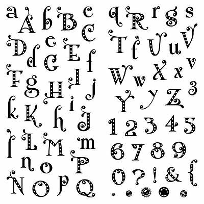 Inkadinkado Clear Stamps - Gem Stone Alphabet - Lower Case, Upper Case & Numbers