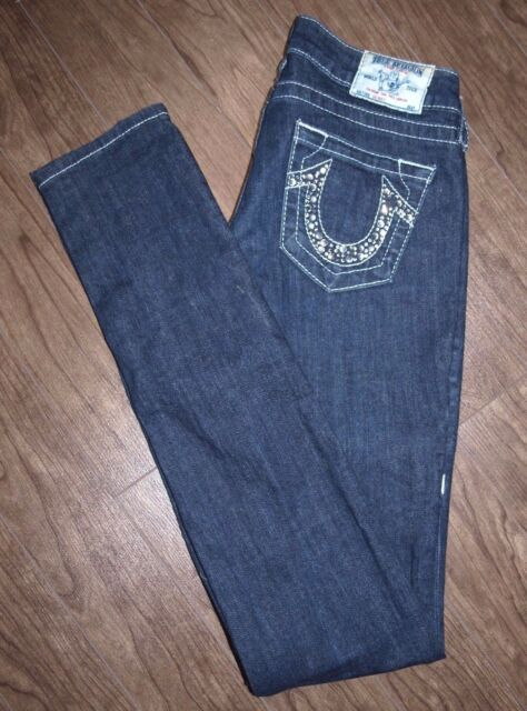 True Religion Size 25 Womens Skinny Low Rise Dark Wash Jeans Bejewelled Pockets