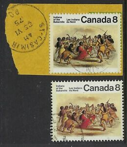 Scott-575-var-8c-Indians-Black-double-printed-on-piece-with-normal-VF-CDS