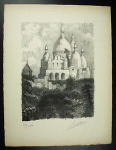 Louis-Mery-1877-1967-View-of-the-Basilica-Sacred-Heart-Engraving-Signed-1947
