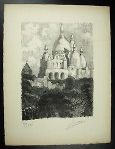 Louis Mery (1877-1967) Vue De La Basilique Du Sacré Coeur Gravure Signée 1947