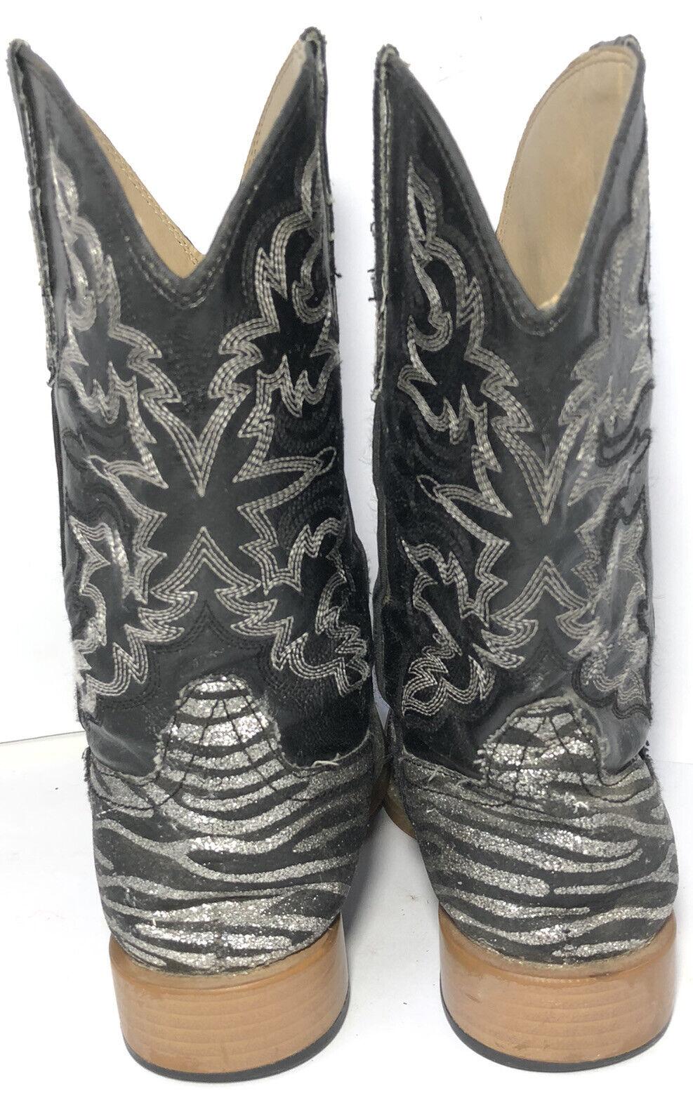 Roper Kids Black Zebra Print Cowboy Western Boots… - image 10