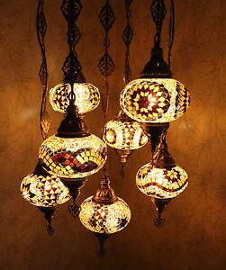 Dynamique Turc Style Marocain Mosaïque Polychrome Suspension Lampe 7 Grand Globe-afficher Le Titre D'origine