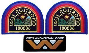 Set of 3 USCSS Nostromo Weyland Yutani Corp Alien Movie Collector Cosplay Patch