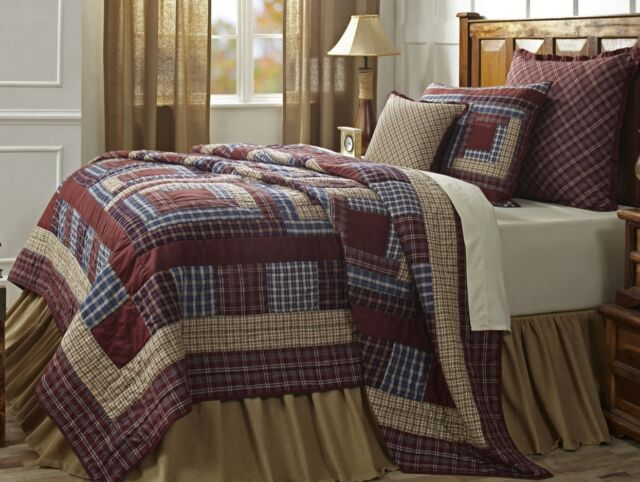 FINLEY Full / Queen QUILT SET : RED BROWN COUNTRY CABIN LODGE VARSITY PLAID