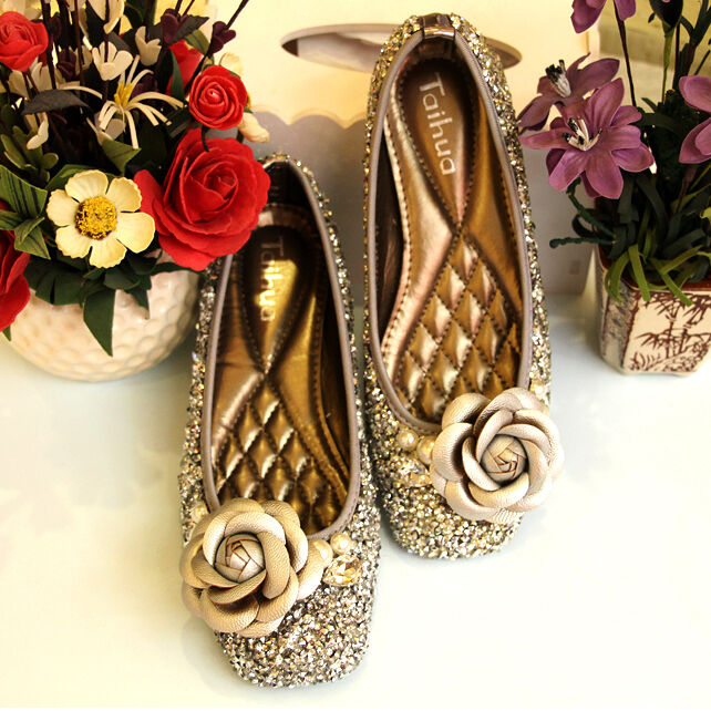 Gold slip silver womens lady casual slip Gold ons loafers shoes 3W flat sequins 3D flower ab4118