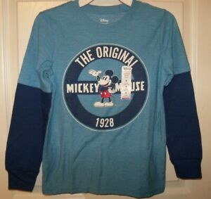 Disney Mickey Mouse The Original Blue Long Sleeve Shirt  Boys Size 6 NEW