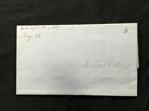Stampless Entire 1848 Aug 15 Whitfield NH to Croydon Black M/s 5 Due Zone Rate