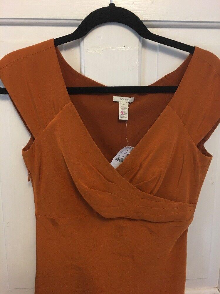 NWT J. Crew Dress Size 4P Cecelia Silk Harvest Hold orange Midi Dress