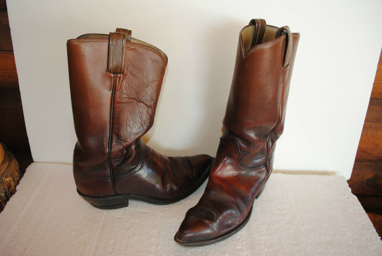 TONY LAMA COWBOY WESTERN BOOTS *RUST BROWN SOFT* Vintage Men Sz 8.5 D