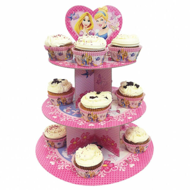 3 Tier Disney Princess Style Party Birthday 11.8in Card Cupcake Cake Stand