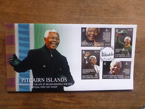 PITCAIRN-Is-2014-NELSON-MANDELA-COMMEMORATION-SET-4-STAMPS-FDC-FIRST-DAY-COVER
