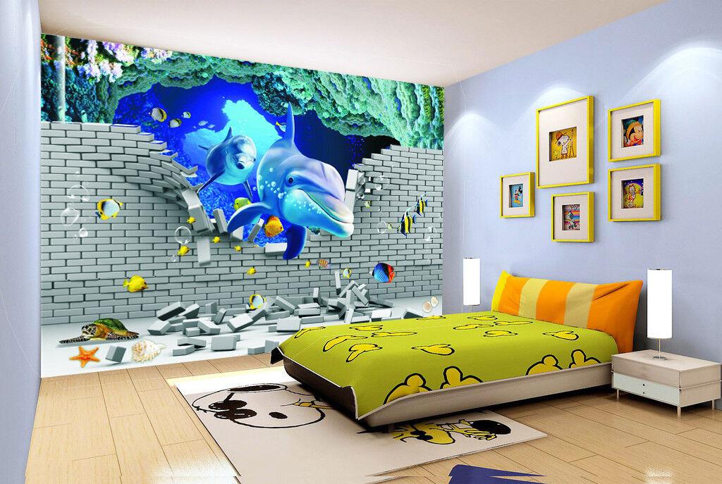 3D Ocean Shark 7079 Wallpaper Mural Wall Print Wall Wallpaper Murals US Lemon