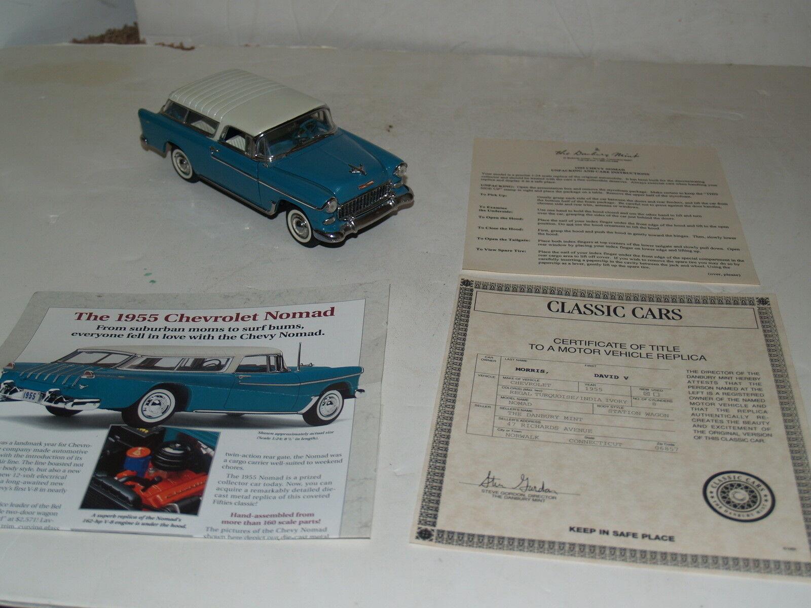 Danbury Mint-1955 Chevrolet Nomad-Turquoise Ivory Station Wagon-w title&Brochure