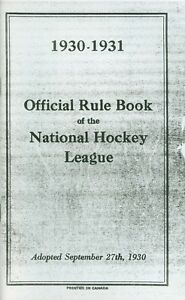 1930 31 Official Rule Book Of The National Hockey League Nhl