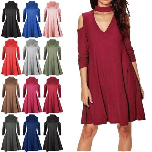 Women Choker V Neck Ladies Cold Cut Shoulder Franki Swing Long Manche Mini Dress