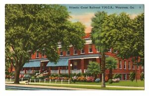 1940s-Atlantic-Coast-Railroad-YMCA-Building-Waycross-GA-Georgia-Linen-Postcard