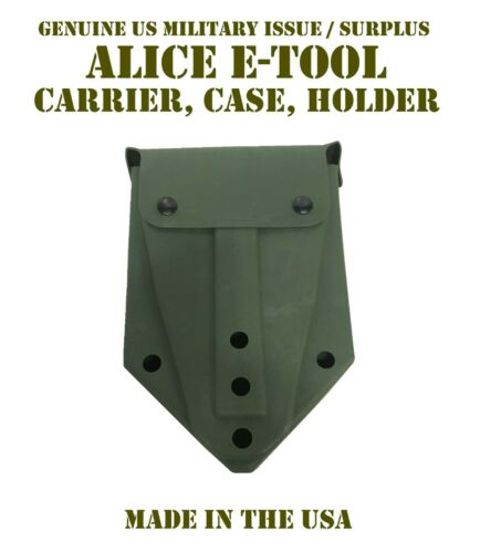 US MILITARY ENTRENCHING E-TOOL FOLDING SHOVEL OD CARRIER POUCH COVER ALICE CLIPS