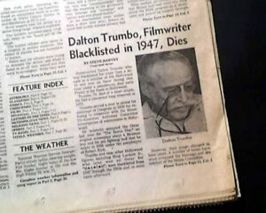 Best DALTON TRUMBO Hollywood Movie Film Screenwriter DEATH 1976 L.A. Newspaper
