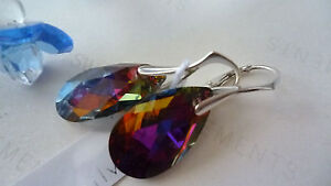 SOLID-STERLING-SILVER-925-EARRINGS-WITH-GENUINE-SWAROVSKI-CRYSTAL-VOLCANO-AB