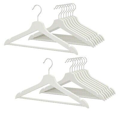 12 X Bianco In Legno Appendini Guardaroba Organizzatore Panni Vestito Cappotto Di Legno Hanger-