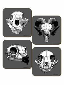 Calvaria-4-Piece-Coaster-Set-Animals-Skulls-Gothic-Wicca-Pagan-Cork-Backed